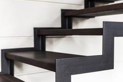 Escadas feitas do metal preto Foto de Stock Royalty Free