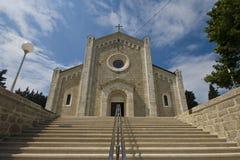 Escadas largas da igreja de paróquia de nossa senhora de Rosar Fotografia de Stock Royalty Free