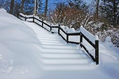 Escadas na neve Imagens de Stock