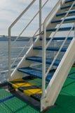 Escadas na plataforma de um ferryboat fotos de stock