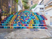 Escadas pintadas, Achrafieh, Beirute, Líbano imagem de stock royalty free