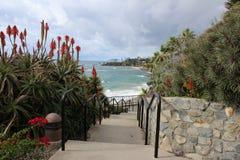 Escadas que conduzem para baixo ao oceano Imagens de Stock