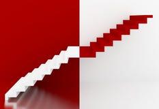 Escadas vermelhas e brancas no interior, 3d Foto de Stock