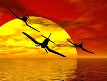 Escadron de coucher du soleil Photos libres de droits