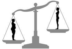 Escala apta de la dieta de la pérdida de peso de la grasa antes después Imagen de archivo libre de regalías