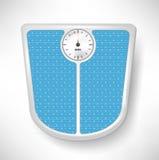 Escala azul del peso del cuarto de baño Imagenes de archivo