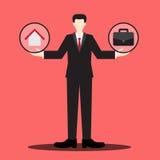 Escala casera o del trabajo del hombre de negocios Imagen de archivo libre de regalías