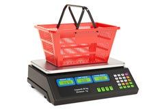 Escala computacional del precio con la cesta de compras, representación 3D Imagen de archivo libre de regalías