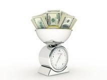 Escala da cozinha com dinheiro do dólar Foto de Stock