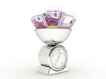 Escala da cozinha com euro- dinheiro Fotografia de Stock