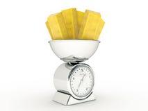 Escala da cozinha com lingote de ouro Imagens de Stock