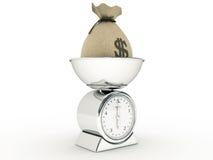 Escala da cozinha com saco do dinheiro Fotografia de Stock
