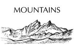 Escala da tinta de montanha tirada pena ilustração stock