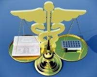 Escala de Asclepius & de justiça Imagem de Stock