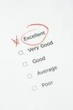 Escala de avaliação com o EXCELENTE verific Foto de Stock