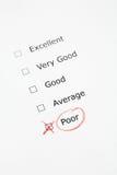 Escala de avaliação com os POBRES verific Foto de Stock