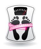 Escala de banheiro com medidor da medida ilustração stock