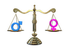 Escala de equilibrio de la igualdad de género Fotografía de archivo