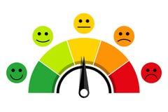 Escala de la satisfacción del cliente stock de ilustración