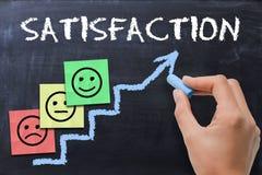 Escala de la satisfacción del cliente con las notas adhesivas coloreadas sobre la pizarra fotografía de archivo