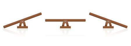 Escala de madeira do equilíbrio da balancê ilustração do vetor