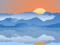 Escala de montanha azul Fotografia de Stock