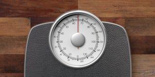 Escala de peso isolada no fundo de madeira ilustração 3D ilustração stock