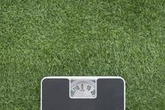 Escala de peso na grama verde Fotos de Stock Royalty Free