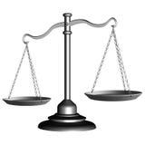 Escala de plata de la justicia Imagenes de archivo