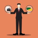 Escala del hombre de negocios del trabajo o del dinero Foto de archivo
