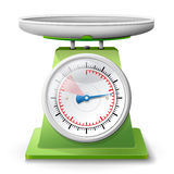 Escala del peso en el fondo blanco Fotos de archivo