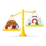 Escala do equilíbrio com cuidados médicos e vida saudável ilustração royalty free