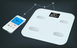 Escala elegante del peso y un smartphone con la informaci?n del peso sobre ella exhibici?n del ` s Conseguir la información del p libre illustration