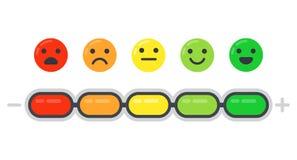 Escala emocional El indicador del humor, la encuesta sobre la satisfacción del cliente y el emoji coloreado de las emociones aisl stock de ilustración
