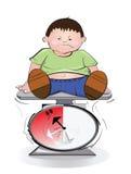 Escala gorda del muchacho y del peso. Fotos de archivo libres de regalías