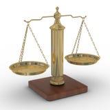 Escala justiça em um fundo branco. Imagem de Stock
