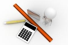 escala Pen Concept de la calculadora del hombre 3d Imagen de archivo libre de regalías