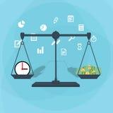 Escala que pesa o dinheiro e o tempo Fotos de Stock Royalty Free