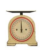 Escala vieja del peso del resorte con el dial aislado. Fotos de archivo