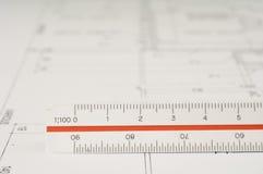 Escala y gráfico del arquitecto Imágenes de archivo libres de regalías