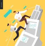 Escalada acima em uma pilha de originais de contabilidade Imagens de Stock Royalty Free