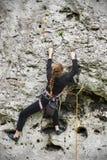 Escalada da jovem mulher Fotografia de Stock