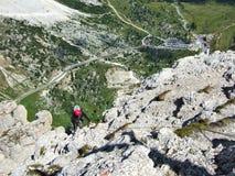 Escalada de rocha em Dolomiten Fotos de Stock Royalty Free