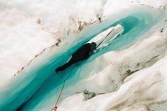 Escalada do gelo fotografia de stock