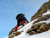 Escalada do inverno imagens de stock royalty free