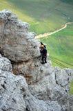Escalada en montañas de las dolomías imágenes de archivo libres de regalías
