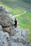 Escalada en montañas de las dolomías imagen de archivo libre de regalías