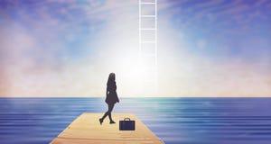 Escalada, escadaria ao céu com sonhos ilustração stock