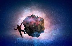 A escalada extrema é sua adrenalina Meios mistos Imagens de Stock Royalty Free