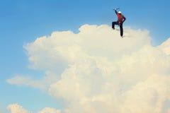 A escalada extrema é sua adrenalina Meios mistos Fotos de Stock